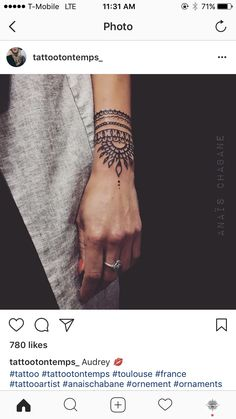 Hand in tattoos - Tattoos - Henna Designs Hand Henna Tattoo Hand, Wrist Henna, Mandala Hand Tattoos, Cuff Tattoo Wrist, Boho Tattoos, Sexy Tattoos, Body Art Tattoos, Sleeve Tattoos, Tatoos