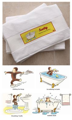 Curious George® Personalized Bath Towel - this is so cute! You can pick your favorite Curious George Design and then personalize the bath towel with your child's name for only $26.95! #CuriousGeorge #Monkey #Towel