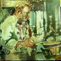 """On My Easel"" impressionistic work in progress Figures/Portraits/Chefs, painting by artist Kim Roberti"