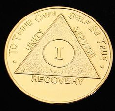 Vintage 24K Gold Plated Alcoholics Anonymous 1 Year Medallion Coin Token Chip | eBay