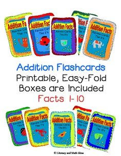 Addition fact flashcards that come with a printable, easy-fold box for each addition fact.  Print out the facts that you are reviewing for the week, use them as math centers, or send home a box with a student that needs extra review.  Convenient addition fact review