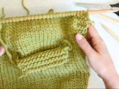 DROPS Knitting Tutorial: How to knit a pocket - on inside (cep yapılışı)