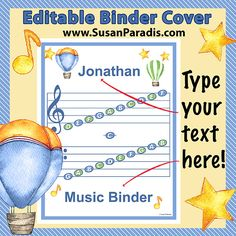 This is an editable cover for a music binder.