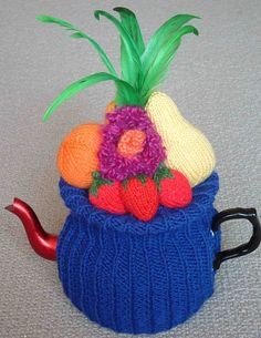 Maree knitted Carmen Miranda published in Wild Tea Cosies 2008