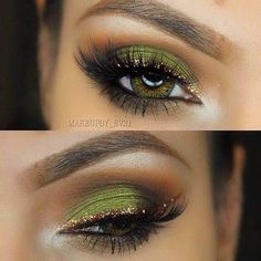 Green With Envy - The Prettiest Ways to Wear Glitter On Your Eyes - Photos Gorgeous Makeup, Pretty Eye Makeup, Pretty Eyes, Beautiful Eyes, Unique Makeup, Green Eyeliner, Gold Eyeliner, Makeup Tips Green Eyes, Gold And Brown Eye Makeup
