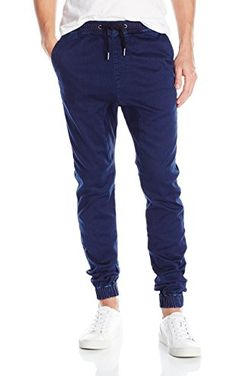 Zanerobe Men's Sureshot Tapered Knee Jogger Pants, Blue/Black, 34 ❤ Zanerobe Men's Collections