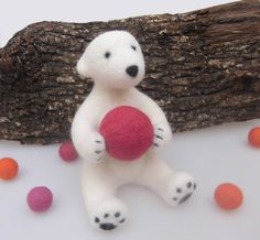 nursery decoration , needle felted stuffed animal, felt animal, cute children decoration, red ball, eco friendly toy, made with love,