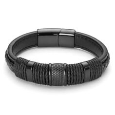 Buy Lucleon - Black Leather & Steel Icon Bracelet for only Shop at Trendhim and get returns. Engraved Bracelet, Black Leather Bracelet, Square Rings, Bracelet Cuir, Black Stainless Steel, Wooden Jewelry, Bracelets For Men, Mens Fashion, Arno