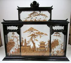 Vintage Chinese Cork Carving / Diorama - 4 Scenes - Beautifully elaborate scenes effective in conveying serenity and calmness.