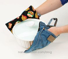 Minutes to Recycle Jeans, Nancy Zieman, Sewing WIth Nancy, How to recycle jeans. Sew a potholder from jeans. Sewing Hacks, Sewing Tutorials, Sewing Crafts, Sewing Projects, Sewing Patterns, Quilting Projects, Sewing Ideas, Easy Projects, Sewing Tips