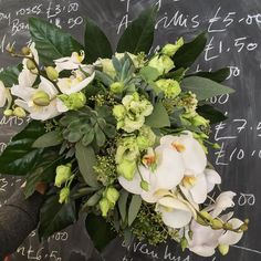 Bridal Bouquet- orchids echeveria crassula green frilly lissianthis and Aurelia - large and asymmetric and beautiful well I think so lovely to do an unusual bouquet textured and simple at the same time. #flowergirl #flowerdiary #weddingstyles #bridalbouquet #echeveria @amandaaustinflowers