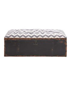Take a look at this Gray & White Chevron Metal Storage Bench on zulily today!
