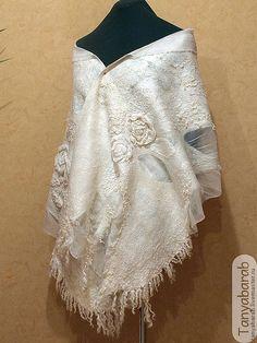 """Купить Палантин """"Белый плен 2"""" - белый, палантин валяный, шарф их шерсти и шелка"""