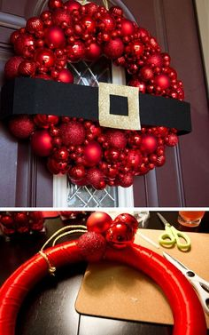 Ornament Wreath Click Pic for 21 DIY Christmas Outdoor Decorations Ideas Front Porch Christmas Decorations Noel Christmas, Winter Christmas, Christmas Ornaments, Christmas Movies, Ornaments Ideas, Country Christmas, Christmas Candy, Simple Christmas, Christmas Lights