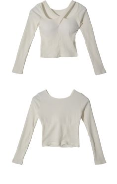 Cross Strap Accent Long Sleeve Top (White) | STYLENANDA