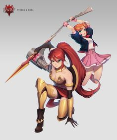 This is the card art for Pyrrha and Nora's combo attack, Pomegrenade, in Amity Arena. This marks the debut of Nora's Mistral outfit in the game and is the first Legendary card to be added since their introduction in the Fall of Beacon. Rwby Anime, Rwby Fanart, Anime Manga, Anime Art, Rwby Characters, Fictional Characters, Neon Katt, Rwby Pyrrha, Nora Valkyrie