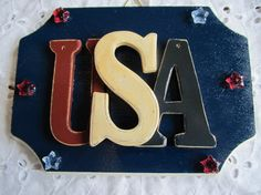 Fourth of July USA Plaque by MesheleCrafts on Etsy