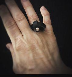 Handmade black leather twist ring by staceyrchinn.com