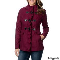 Kensie Women's Ruffled Placket Toggle Coat | Overstock.com Shopping - The Best Deals on Coats