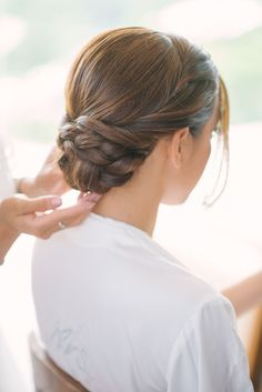 braided low bun wedding hair