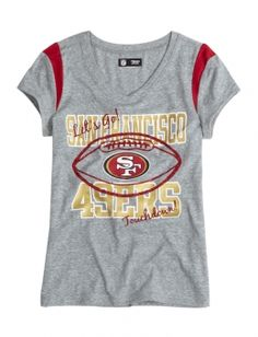 15ec085f105 San Francisco 49ers V-neck Tee 49ers Shirts, 49ers Outfit, Girls Sportswear,