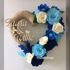Inital Wreath, Monogram Wreath, Felt Wreath, Custom Wreath,Heart Wreath, Personalized Wreath by juliettesdesigntr on Etsy https://www.etsy.com/listing/614049965/inital-wreath-monogram-wreath-felt