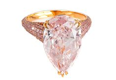 DAVID MORRIS Pink Pear Cut Diamond Solitaire w Pink Pave Cut Diamond Band Set In Gold