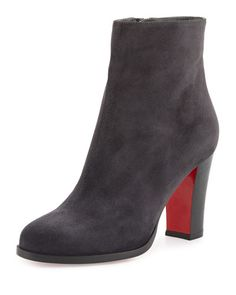 X3ADV Christian Louboutin Suede Red Sole Ankle Boot, Charcoal Gray