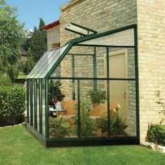 Rion Sun Lounge Lean-to Greenhouse - Hobby Greenhouse Kits Simple Greenhouse, Cheap Greenhouse, Greenhouse Interiors, Backyard Greenhouse, Greenhouse Plans, Pergola Plans, Pergola Ideas, Pergola Kits, Lean To Greenhouse Kits