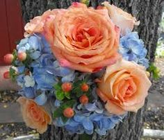 peach and blue bouquets - Google Search