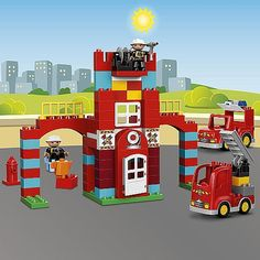 Get set for action at the LEGO® DUPLO® Fire Station! Build the station and park the shiny red fire vehicles in their places, ready to go. Do a practice drill and put out the small fire in the station yard. When the fire bell rings, help the firefighters jump into the fire truck and fire car and speed to the rescue! This set will keep any little firefighter entertained as they master early building skills and enjoy exciting vehicle and role play. Use this set to talk to your child about what…