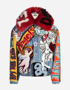 Denim jacket embellished with all-over patches and faux fur collar with intarsia: Painted Denim Jacket, Painted Jeans, Painted Clothes, Diy Fashion, Street Fashion, Mens Fashion, Fashion Design, Fashion Outfits, Custom Clothes