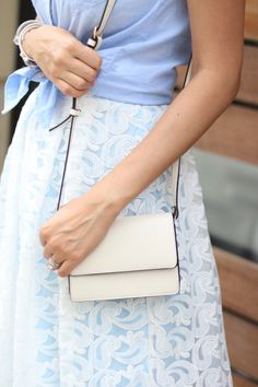 Blue Lace Midi Skirt- Style The Girl