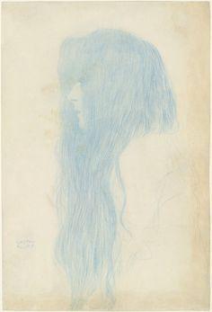 Gustav Klimt. Profile of a Girl (Study for 'Thalia and Melpomene') (Brustbild eines Mädchens mit langem Haar im Profil nach links) Profile of a Girl (Study for 'Thalia and Melpomene'). (1898-99)