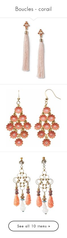 """""""Boucles - corail"""" by liligwada ❤ liked on Polyvore featuring jewelry, earrings, pink, stone jewelry, tassel earrings, stone earrings, stone jewellery, miss selfridge, pink drop earrings and metal flower jewelry"""