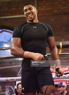 Heavyweight boxer Anthony Joshua training at Little Bassetts Farm gym, in Little Warley, Brentwood, UK.