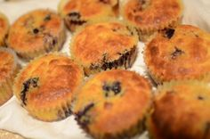 Blueberry Lemon Muffins //      6 eggs*     1/2 cup butter or coconut oil, melted     1 tsp pure vanilla extract     1/4 cup grade B maple syrup     1 lemon, juice and zest     1/2 cup coconut flour     1/2 tsp sea salt     1/4 tsp baking soda     1 cup fresh blueberries