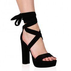0d6e747914063 Adrina Lace Up Heels in Black Faux Suede Lace Up Heels, Velvet Ribbon, Black