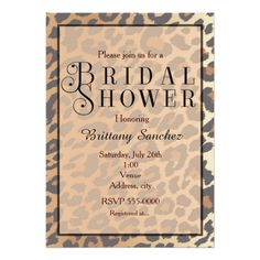 Leopard Print Cheetah Bridal Shower Invitation