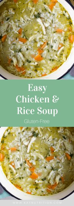 Chicken & Rice Soup Chicken & Rice Soup A simple one-pot meal, this easy Chicken & Rice Soup is naturally gluten-free and makes a delicious well-balanced lunch or dinner. Gluten Free Rice, Gluten Free Chicken, Dairy Free, Gluten Free Soups, One Pot Meals, Easy Meals, Easy Chicken And Rice, Clean Eating, Cooking Recipes