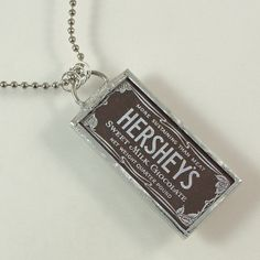 Chocolate Soldered Pendant Necklace by XOHandworks $20.  It's too bad that I've become a chocolate snob and won't eat Hershey's unless it's an emergency. This is very cute!