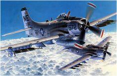 "Clarence ""Bill"" Stoddard Jr carrying a toilet bomb dring Vietnam on his Skyraider Military Life, Military Art, Air Fighter, Fighter Jets, Fighter Aircraft, Ranger, Fixed Wing Aircraft, Douglas Aircraft, F4 Phantom"