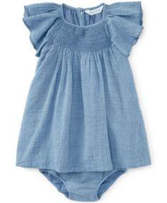 Ralph Lauren Baby Girls' Chambray Dress and Bloomer