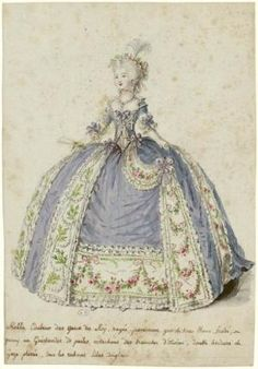 [Figure de mode : dame en robe de cour retroussée sur le côté droit] | Centre de documentation des musées - Les Arts Décoratifs