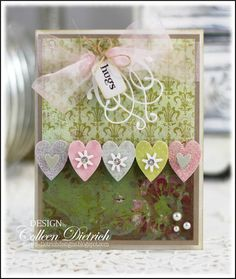 Pink and green Valentine card using Inspired By Stamping sentiment.