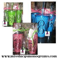 acrylic cups - personalized!   miss lucy's monograms