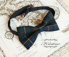 Mens double bow tie tartan wool  english wool by KristineBridal, $44.30