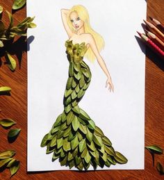 Armenian fashion illustrator Edgar Artis uses stylized paper cut outs and everyday objects to create beautiful dresses. His creative fashion sketches include such items as rose petals, various plants and food, even buildings. Art And Illustration, Art Illustrations, Fashion Design Drawings, Fashion Sketches, Fashion Illustration Dresses, Drawing Sketches, Art Drawings, Drawing Art, Dress Drawing
