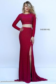 Sherri Hill Spring 2016 50077. Two piece, long sleeve gown. Two piece long sleeve jersey gown. Red, two piece gown with slit.