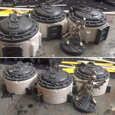 Sewer entrances and/or objective markers. Can easily fit a base, or scrap of paper underneath for hidden objectives. Warhammer 40k Tabletop, Warhammer Terrain, 40k Terrain, Game Terrain, Wargaming Terrain, The River, Space Marine, Giant Mushroom, 28mm Miniatures